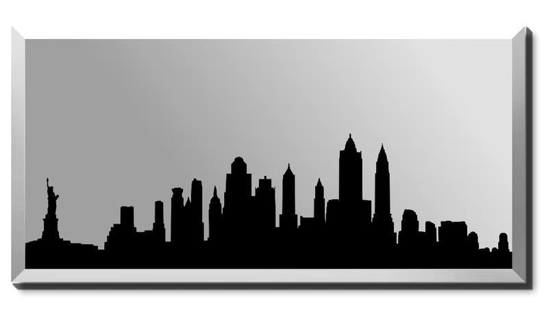 800x465 New York Silhouette Skyline Mirror Frameless Beveled Mirror