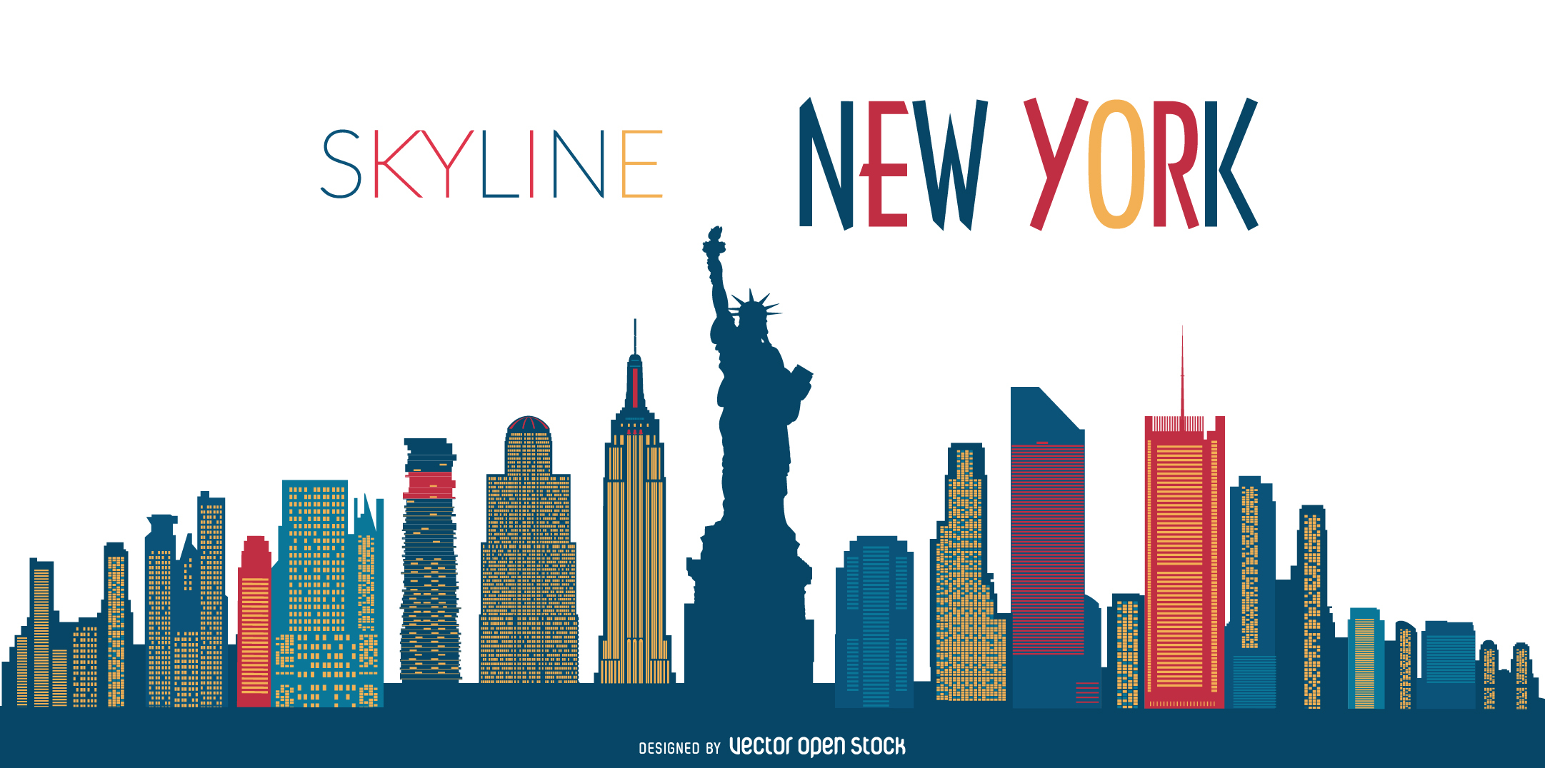 Statue Of Liberty Wall Sticker Silhouette Of New York City Skyline At Getdrawings Com