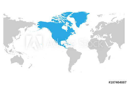 500x334 North America Continent Blue Marked In Grey Silhouette Of America