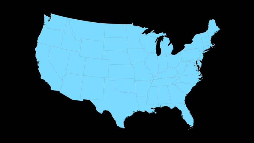 852x480 North Carolina Animated Map Video, Starts With Light Blue Usa