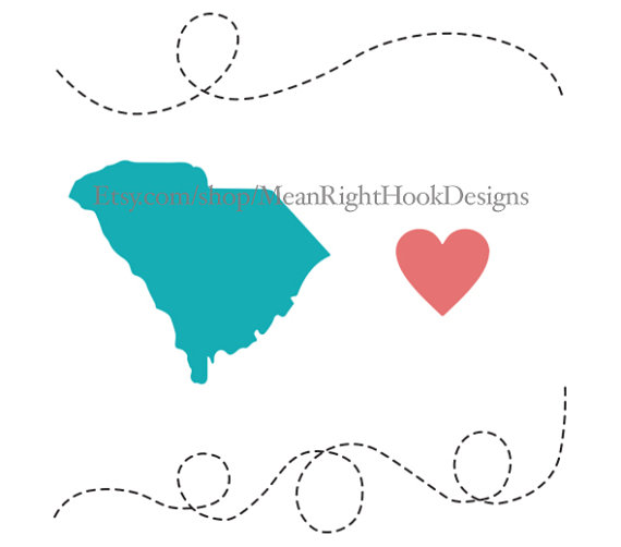 570x502 South Carolina Svg, State Silhouette, Heart Svg, And Dotted Lines