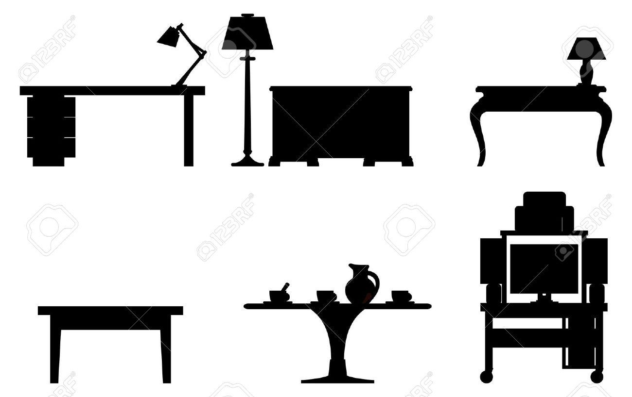 1300x818 Desk Black And White Clipart Kid Interior Design Office Vector