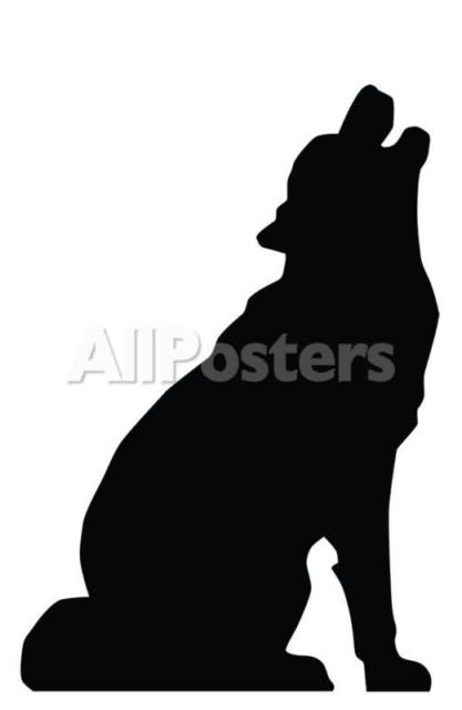 417x640 Howling Wolf Silhouette Life Size Cardboard Cutout Standup Standee