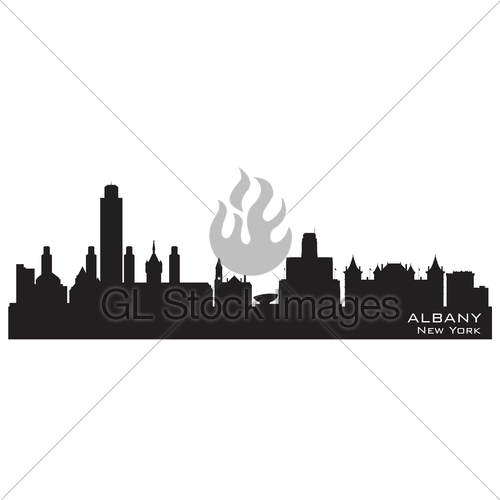 500x500 Albany New York City Skyline Vector Silhouette Gl Stock Images