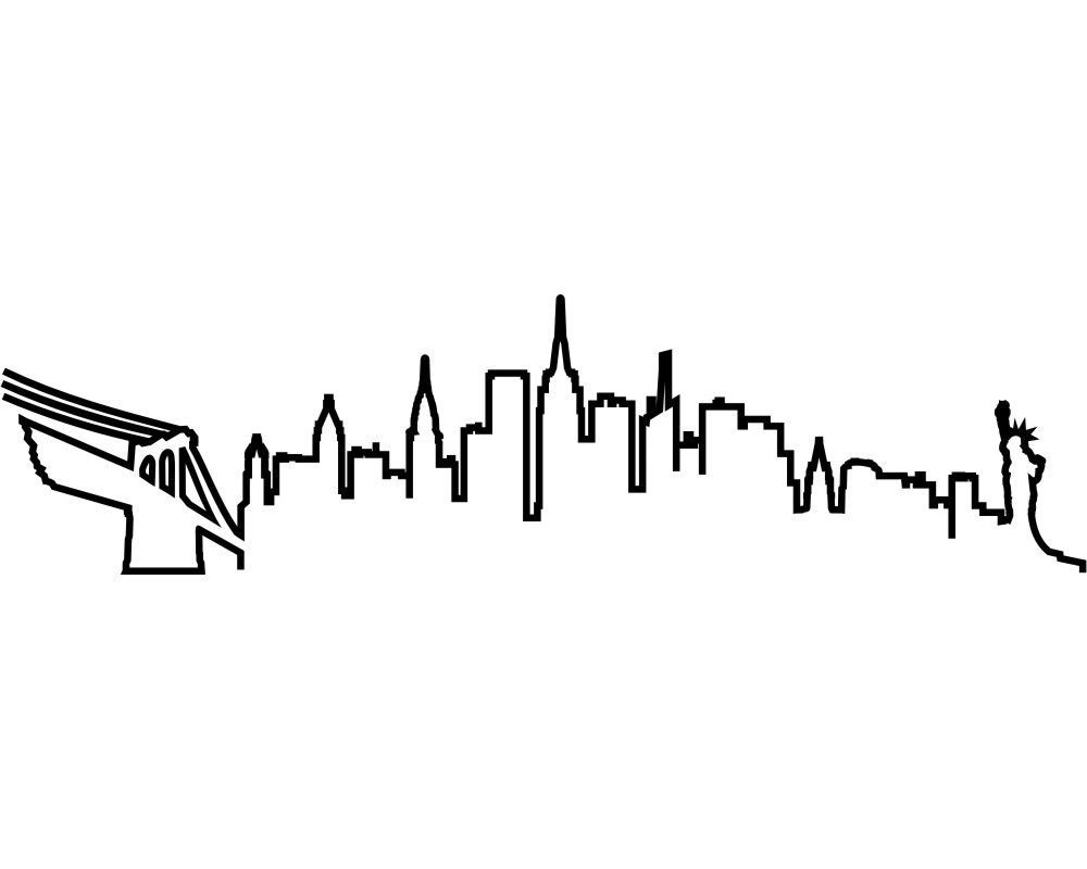 1000x800 New York Skyline Outline