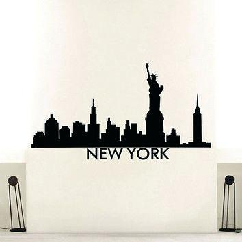 354x354 New York Skyline Silhouette Wall Decal