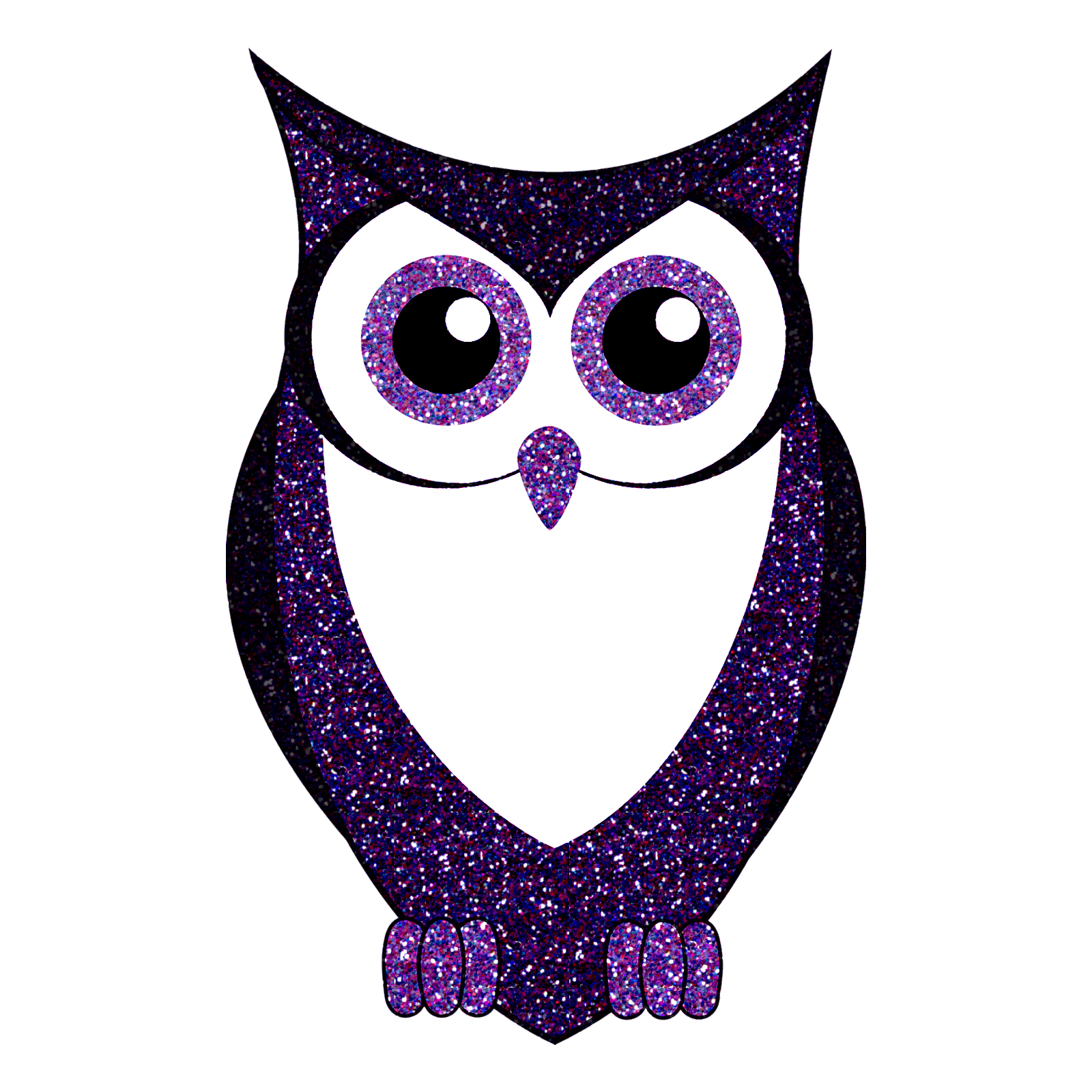 1600x1600 Glitter Owl Purple Blue Silhouette Animal Sticker 5