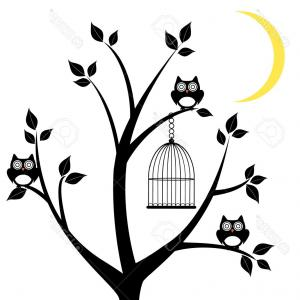 300x300 Photostock Vector Vector Tree Silhouette With Owls Cage And Moon