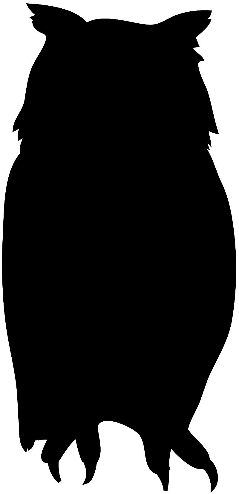 800x1652 Reading Owl Clipart Black And White Bird Silhouette Front Owl