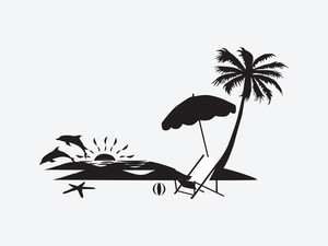 300x225 Silhouette Palm Trees On The Beach With Fish Royalty Free Stock