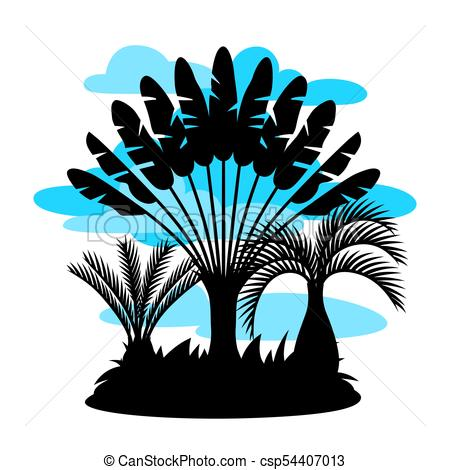 450x470 Card With Tropical Palm Trees. Exotic Tropical Plants Vector