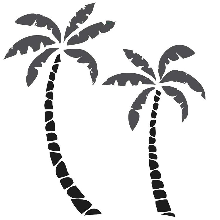 750x750 Paints Palm Tree Wall Decals Black In Conjunction With Palm Tree