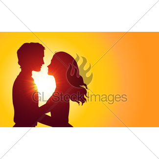 325x325 Sunset Silhouette Couple Kissing Gl Stock Images
