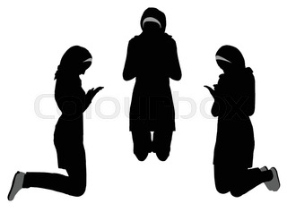 320x237 Silhouette Vector Praying Hands (Front View) On White Stock