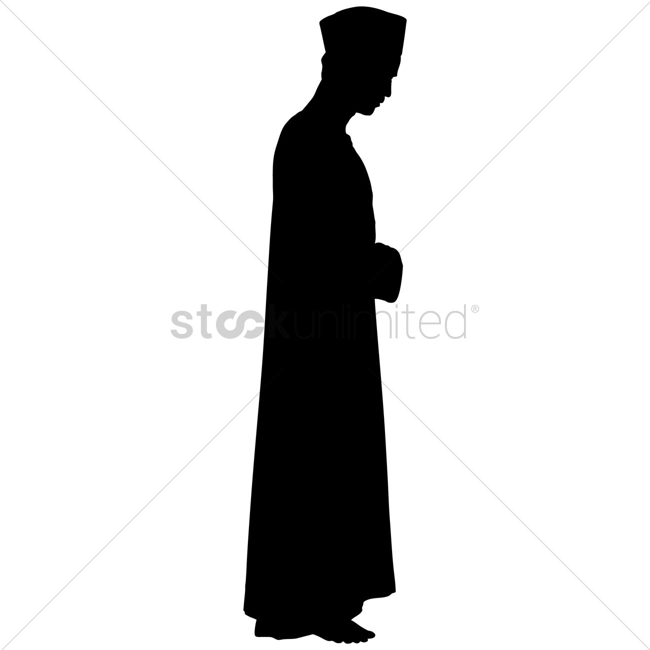 1300x1300 Silhouette Of A Man Praying Vector Image