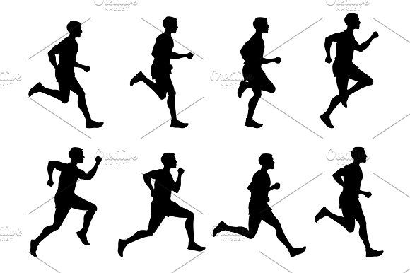 580x386 Jogging Man, Running Athlete, Runner Vector Silhouettes Set By