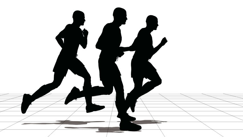 852x480 Leader Of Running People Silhouette Stock Footage Video 344596