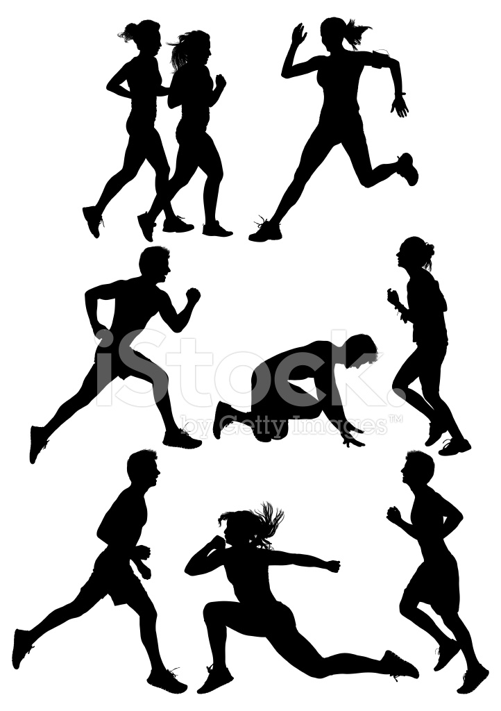 722x1024 Multiple Silhouettes Of People Running Stock Vector