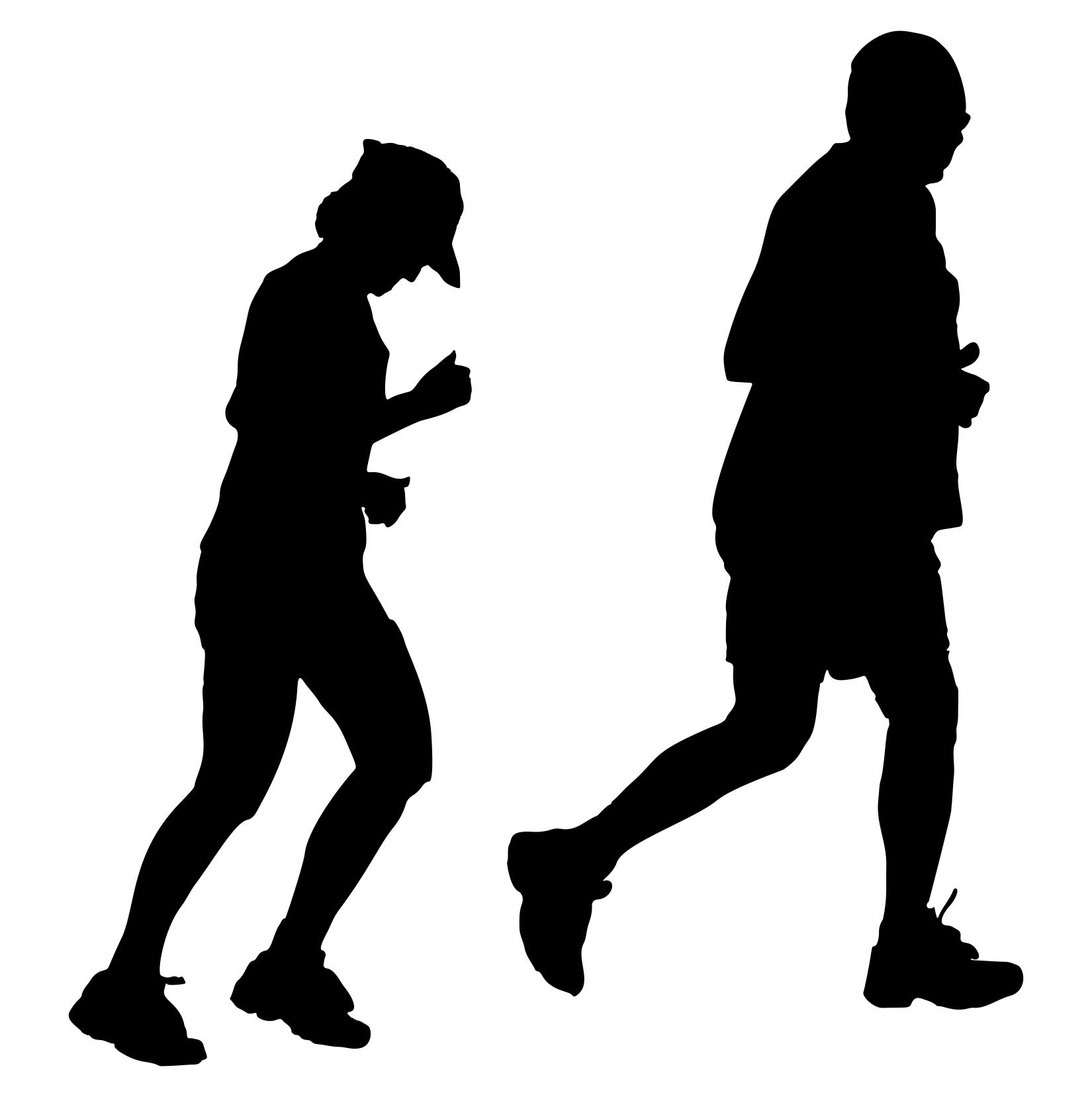 1650x1657 Older Couple Jogging Silhouette Clipart