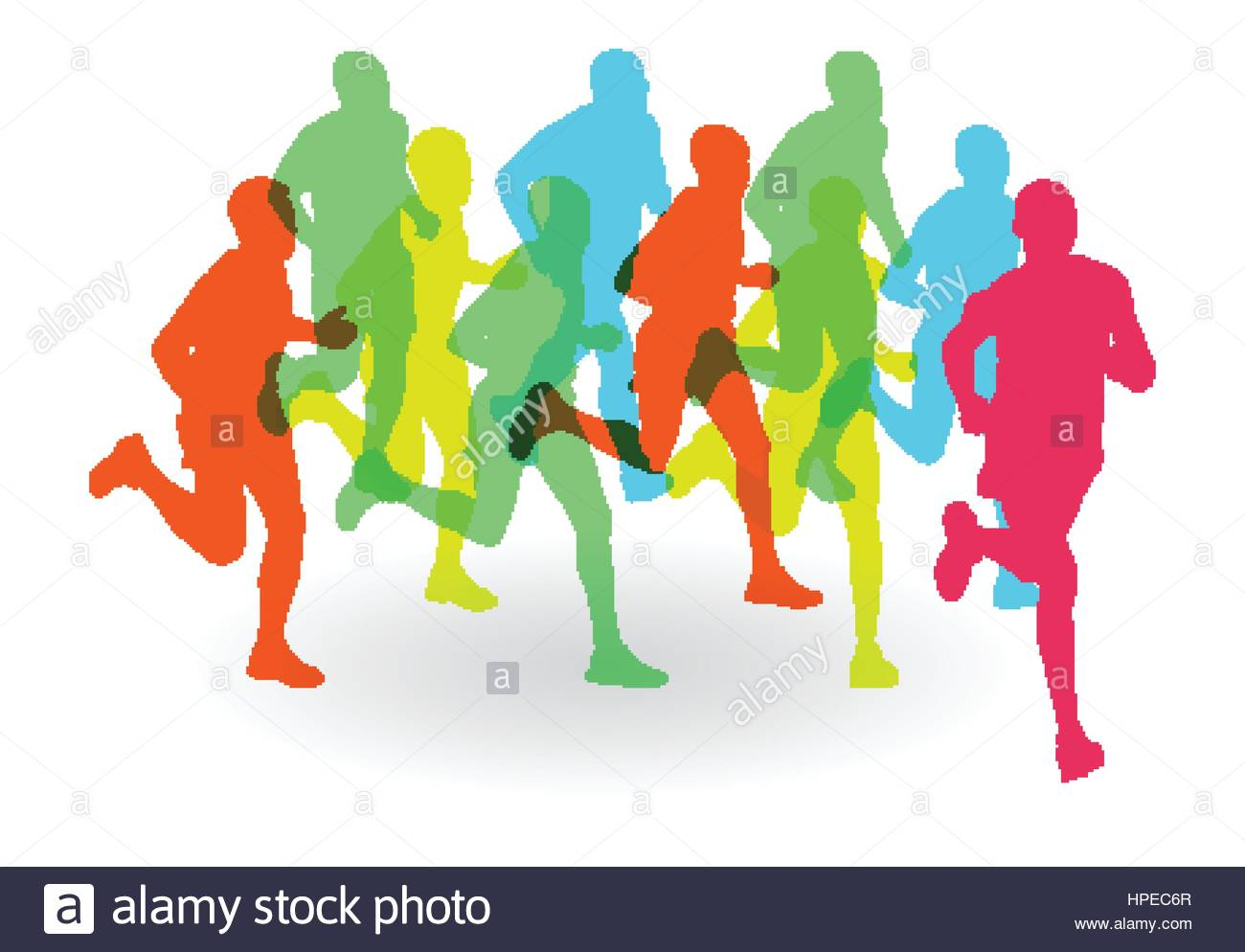 1300x994 Running Marathon People Group Vector Illustration Background Stock