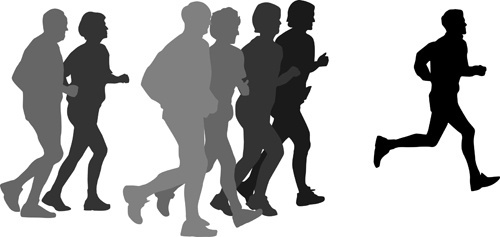 500x237 Woman Running Silhouette Free Vector Download (7,656 Free Vector