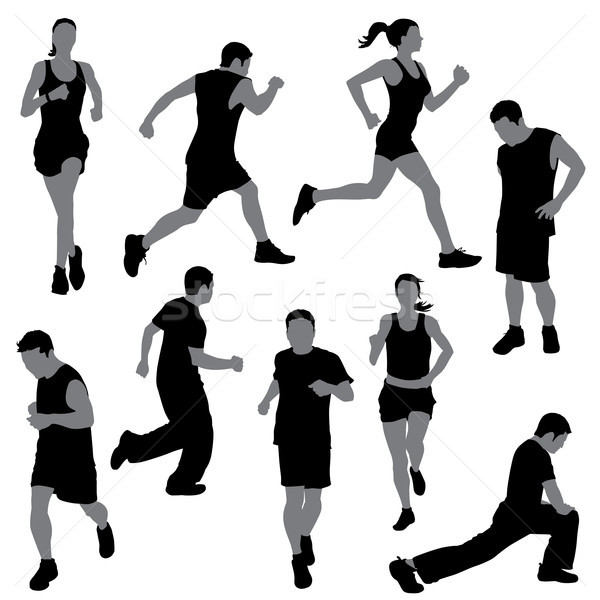 600x600 Group Of People In Silhouettes Running Or Jogging Vector