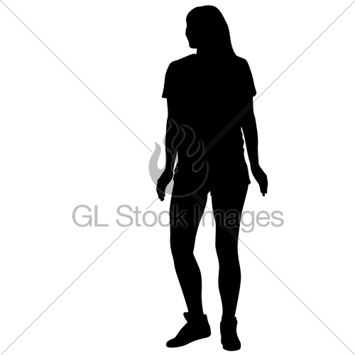 500x500 Silhouette Of People Standing On White Background Gl Stock Images