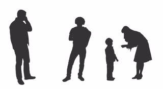320x180 Silhouette Of Four Standing People, Two Men Using Smartphones