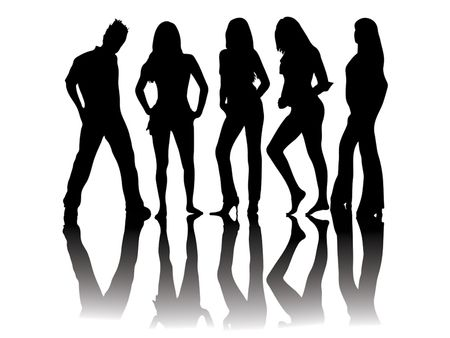 450x338 Black And White Silhouettes Of People Standing Doing Model Poses