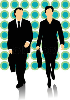 225x320 Group Of Business People Talking And Walking. Stock Vector