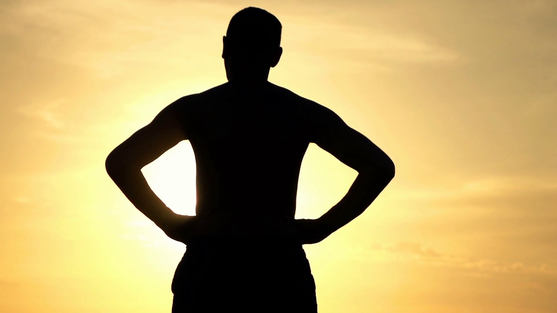 1920x1080 Silhouette Of Man Standing Against The Sky During Sunset, Super