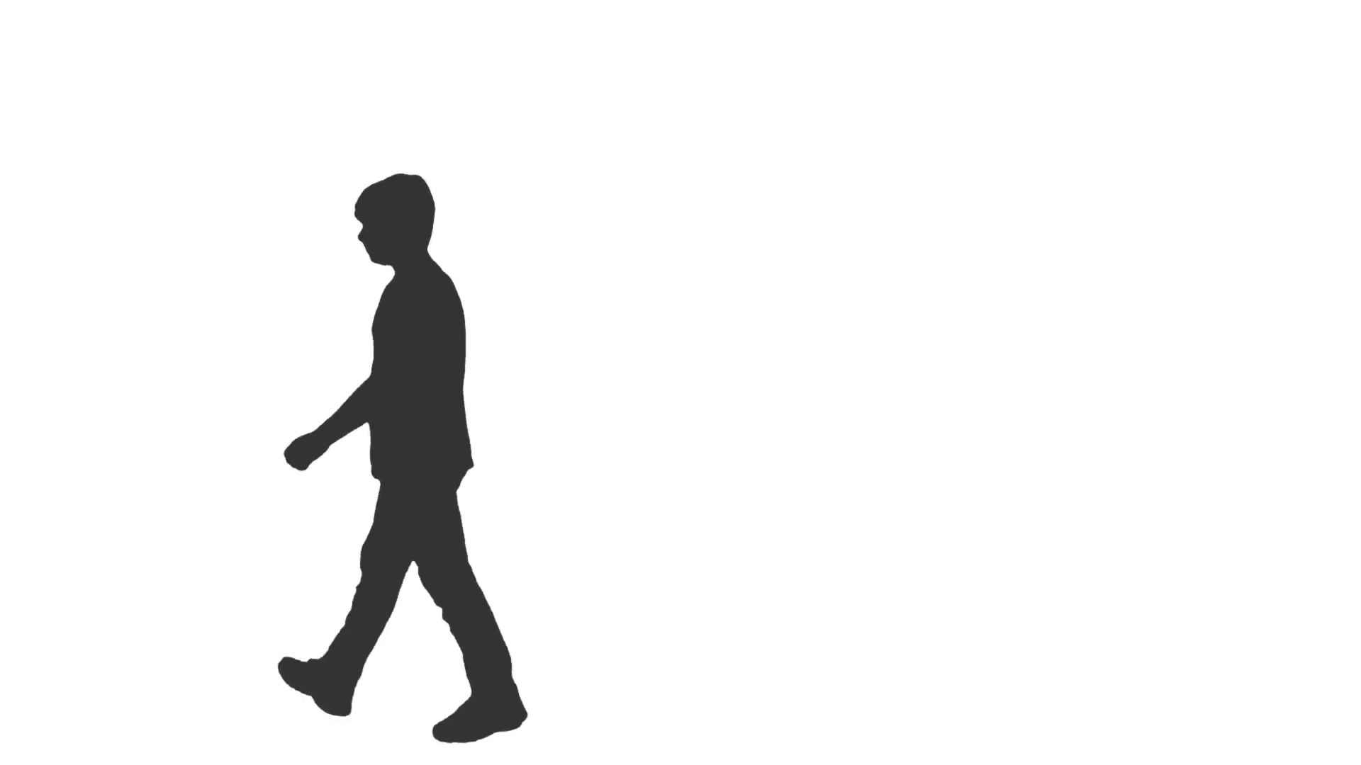 1920x1080 Silhouette Of A Teenager Walking. Side View. Full Hd Shot