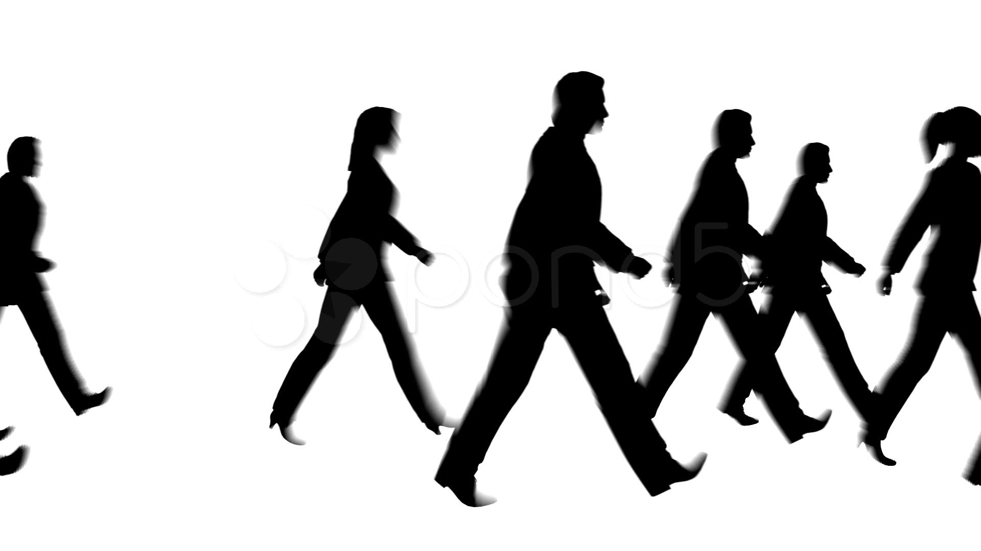 1920x1080 Walking People Silhouette Pedestrian ~ Stock Video