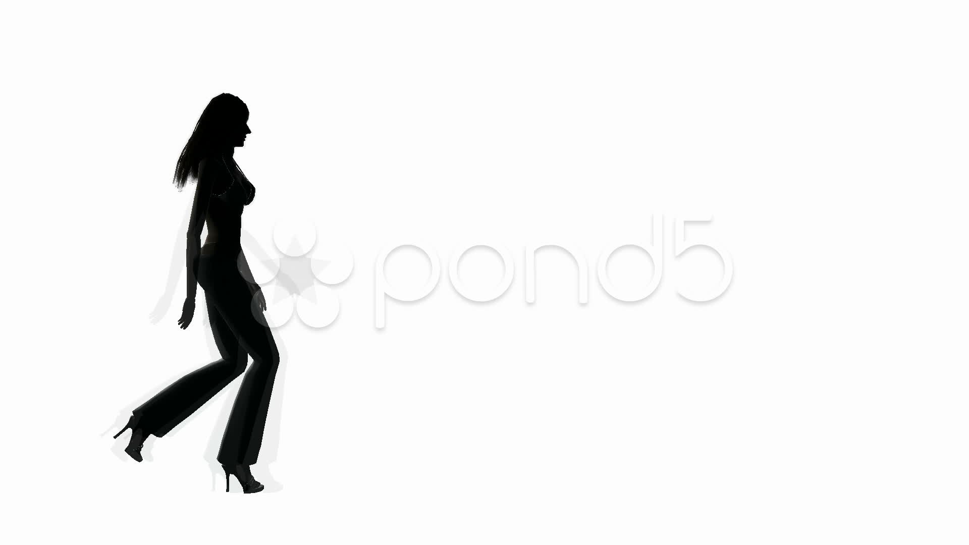 1920x1080 Woman Walking Side View Silhouette ~ Stock Video