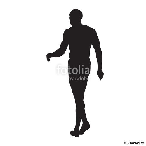 500x500 Man Walking, Young Athlete, Isolated Vector Silhouette Stock