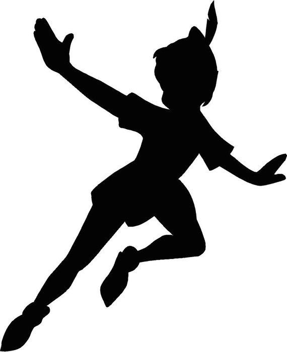 570x700 Peter Pan Flying Silhouette 12.25x15 Vinyl Decal Wall Art