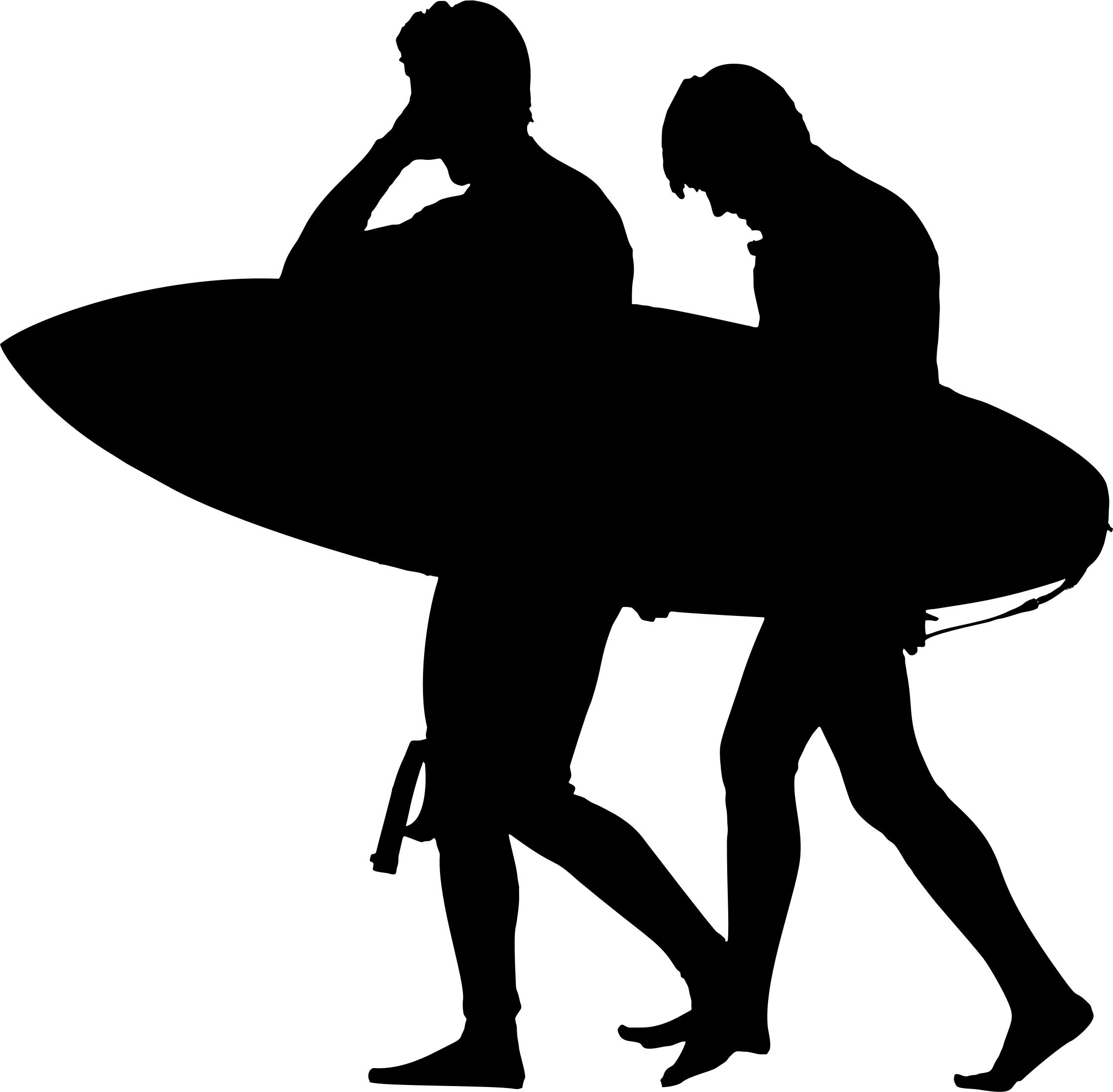 2236x2193 Two Surfers Silhouette Icons Png