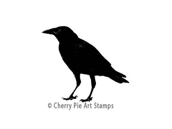 570x428 Raven Crow Silhouette Cling Rubber Stamp For Acrylic Block Art