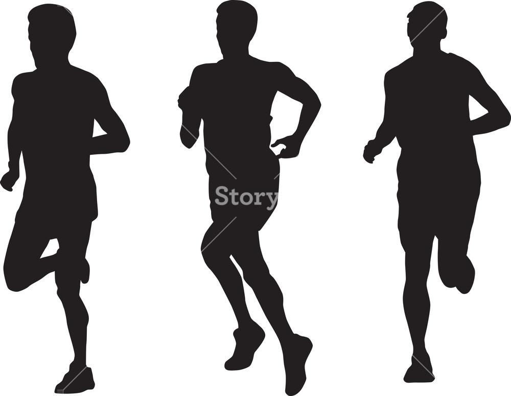 1000x775 Marathon Runner Running Silhouette Royalty Free Stock Image