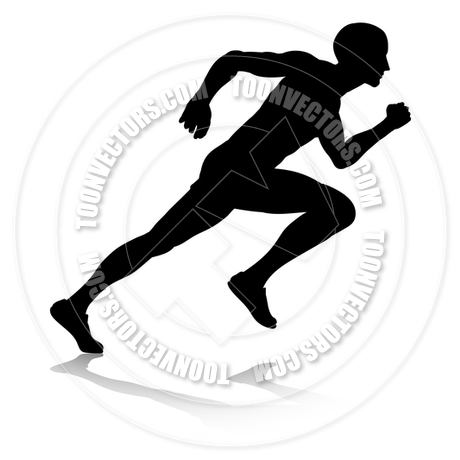 460x460 Silhouette Runner Sprinting Or Running By Geoimages Toon Vectors