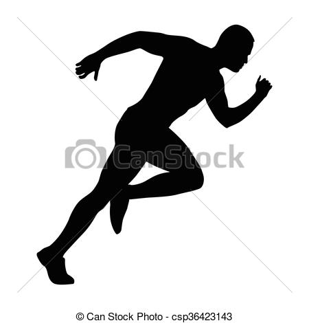 450x470 Sprinting Man Vector Silhouette. Sprint, Fast Run. Runner Eps