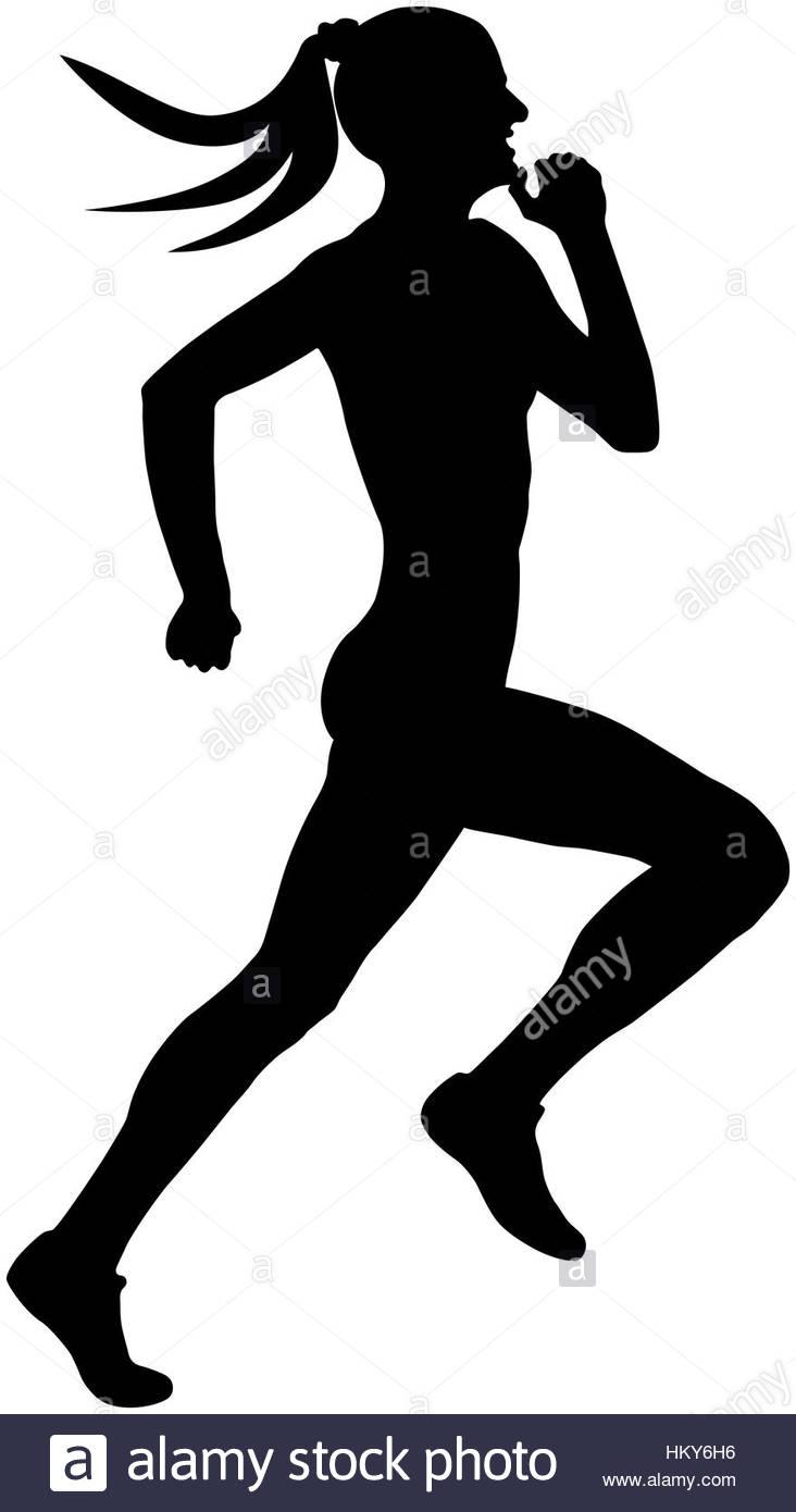 732x1390 Speed Running Muscular Athlete Runner Black Silhouette Stock Photo