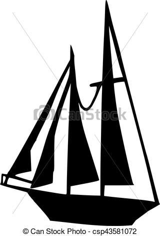 320x470 Big Sailing Boat Silhouette Vectors Illustration