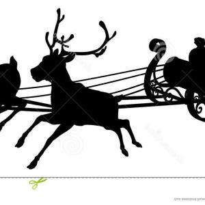 300x300 Stock Illustration Santa Sleigh Silhouette Waving Claus His