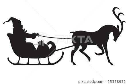 450x293 Silhouette Santa Riding On Reindeer Sleigh