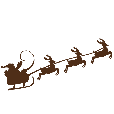 432x432 Reindeer Pulling Santa Svg Cutting Files For Scrapbooking Cute Cut
