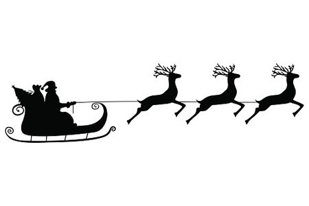 450x300 Santa Claus Rides In A Sleigh In Harness Premium Clipart