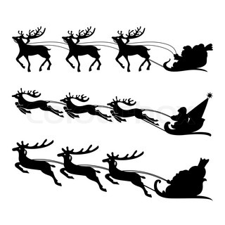 320x320 Santa Claus Rides In A Sleigh Reindeer On Blue Background Stock