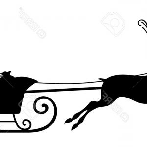 300x300 Stock Illustration Santa Sleigh Silhouette Waving Claus His