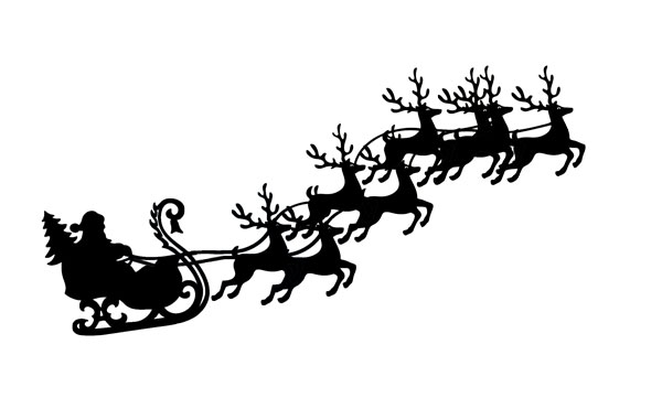 Silhouette Of Santa Sleigh And Reindeer At